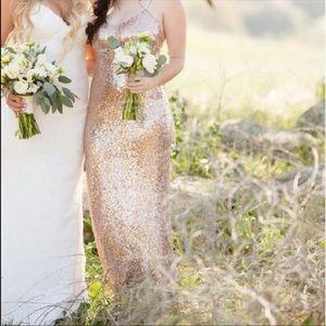 Christina Wu Rose Gold Sequin Bridesmaid Dress